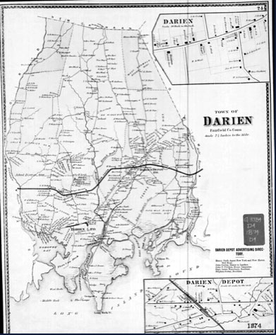 Old Map of Darien CT